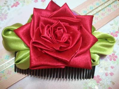 rose, kanzashi, Malaysia, tsumami, hair comb