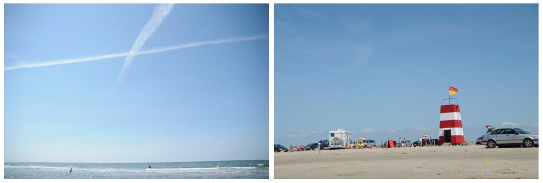 light house and plane stripes on denmark beach