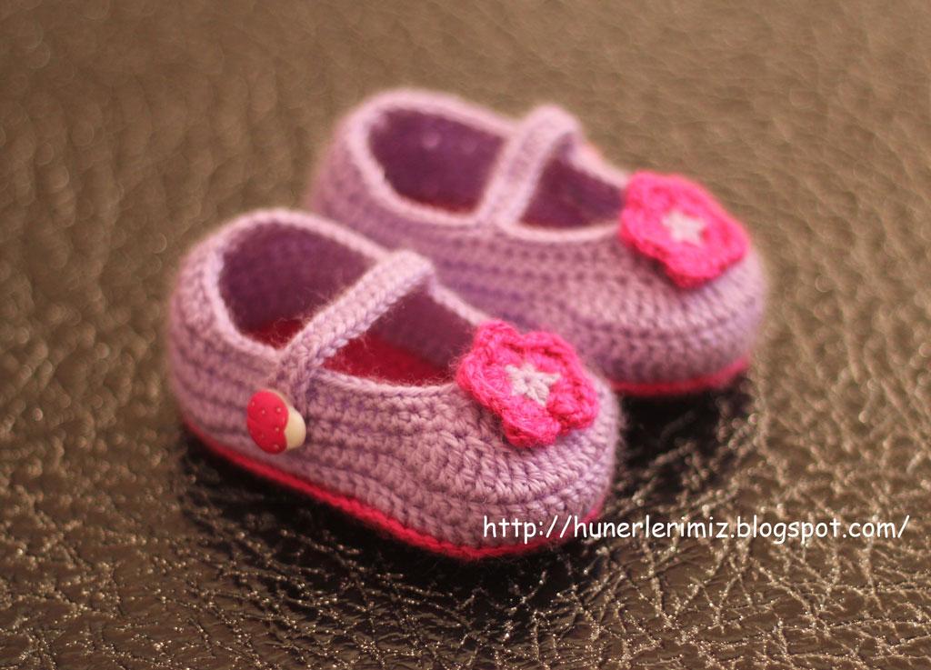 Crochet Baby Booties Tutorial : H?nerlerimiz: Crocheted Baby Booties Tutorial - T?? ??i ...