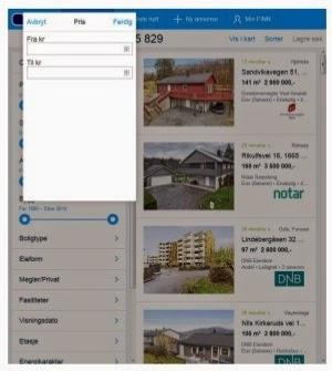 Søkesiden på m.finn.no som viser et vindu for inntasting av beløp som alternativ til slidere.