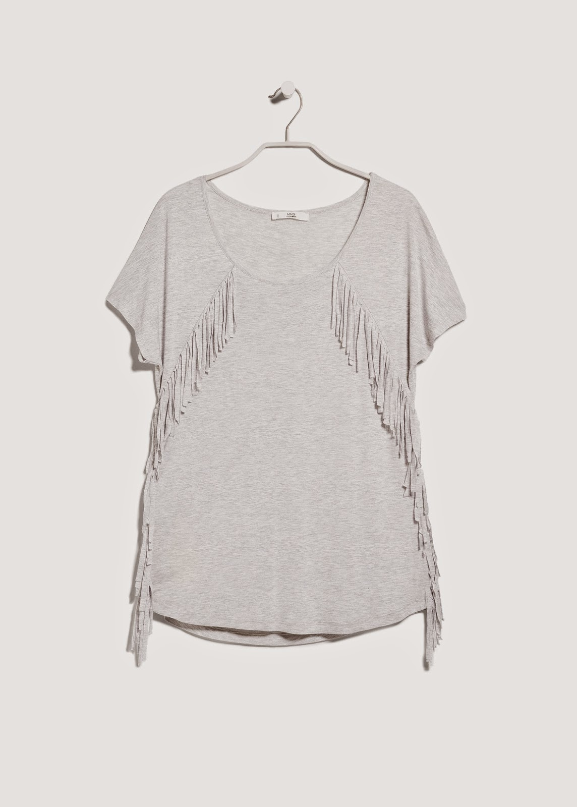 grey fringed t shirt, mango fringed top,