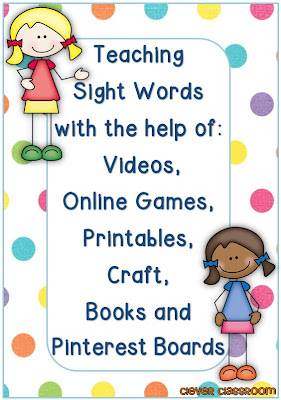 Teaching Sight Words with the help of Videos, Games, Printables, Craft Books and more blog post