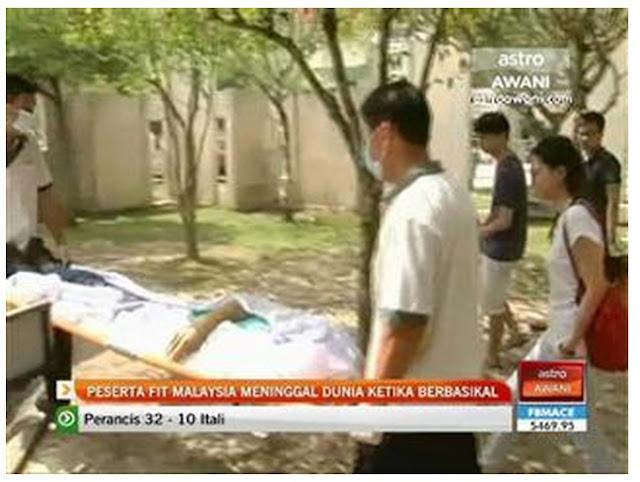 Peserta FitMalaysia rebah ketika berbasikal