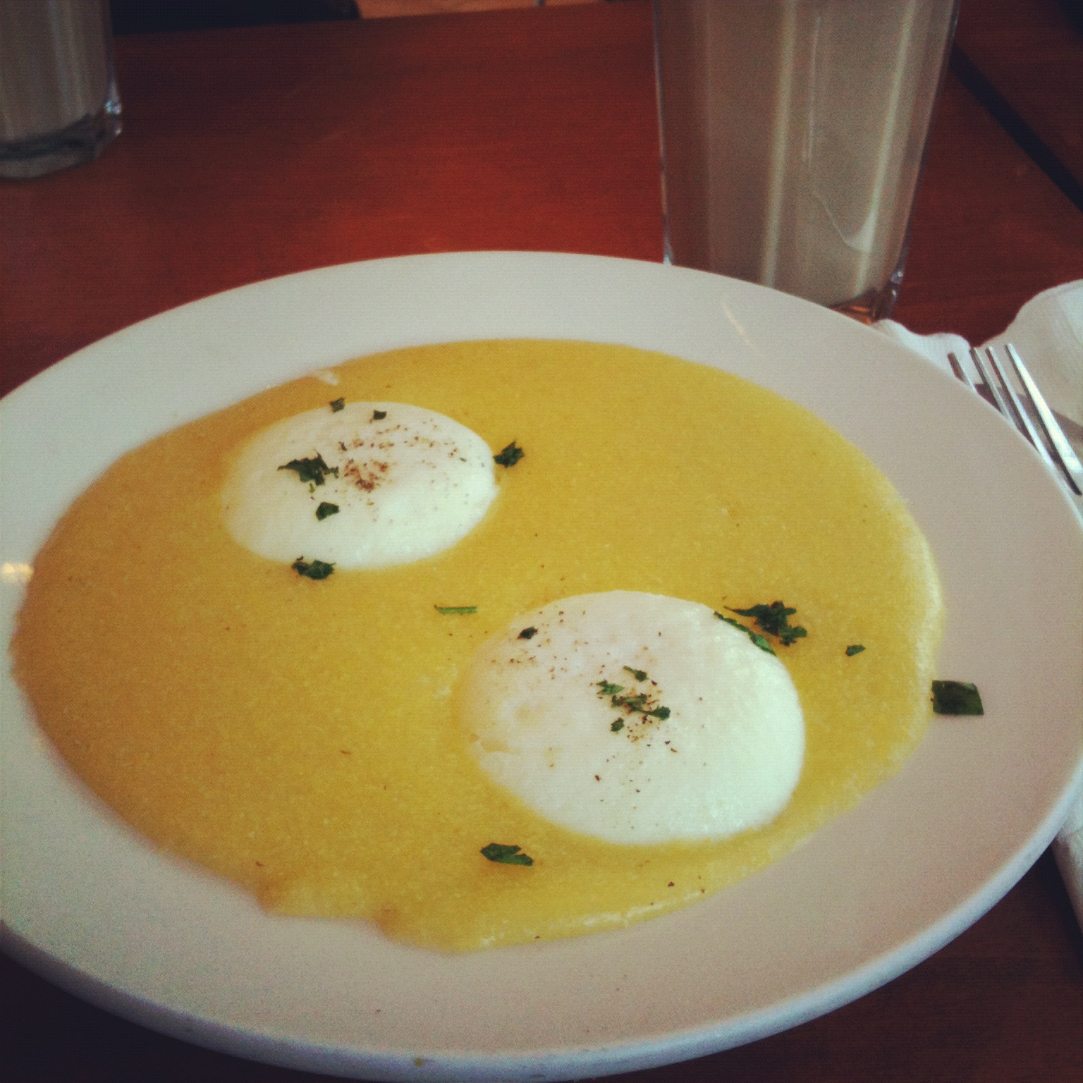 polenta and poached eggs