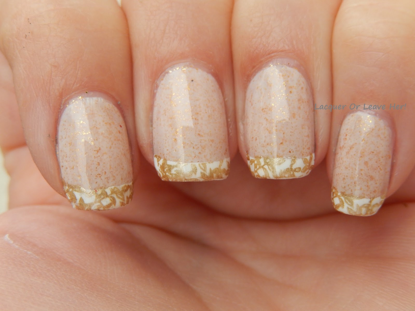 Lacquer or Leave Her!: Before & After: Stamped French Manicure