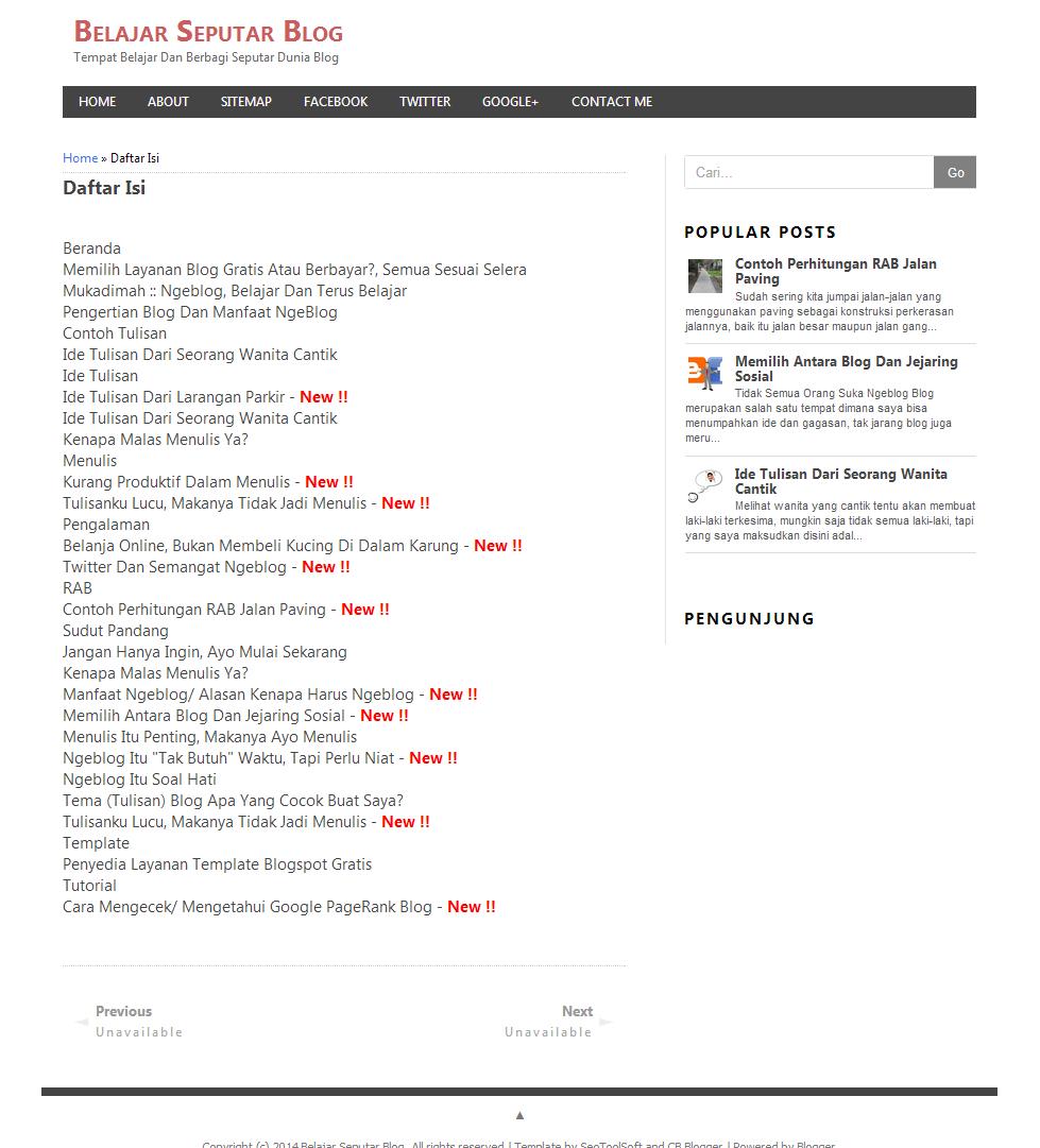 cara membuat daftar isi di blogspot