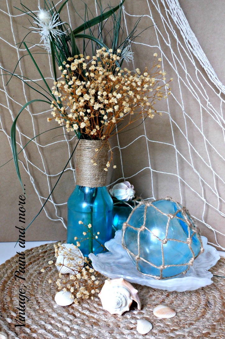 Vintage, Paint and more... faux sea glass beach decor made with mod podge and food coloring