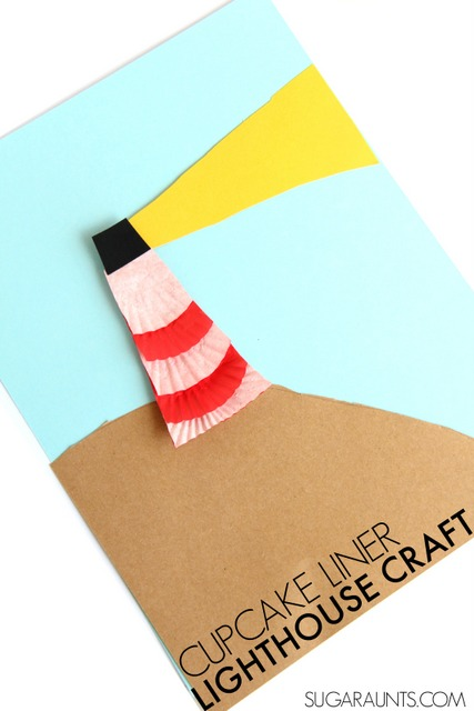 Cute lighthouse craft using cupcake liners! This is a fun craft to make with the kids before going on vacation this summer.