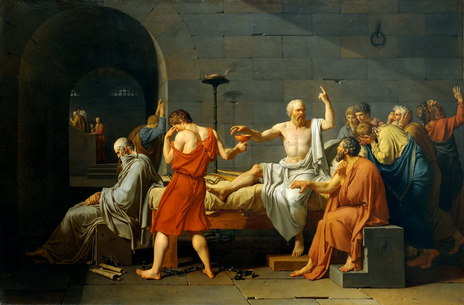 jacque louis david and the death of socrates In david's death of socrates the emphasis is established by the man in the white robe pointing his finger to the sky jacques-louis david: abcgallery | wikipedia.
