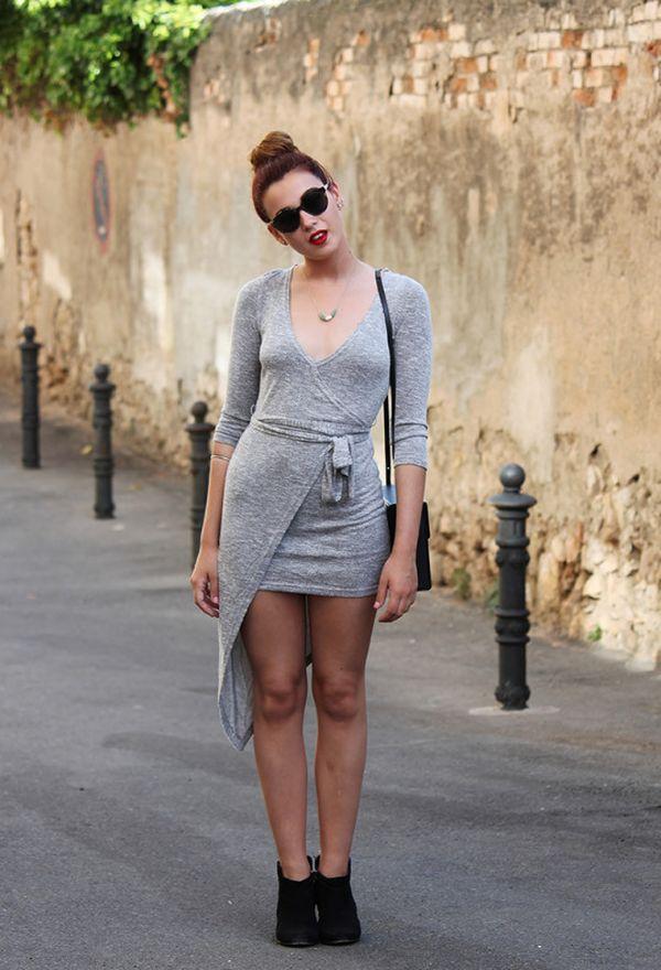 Vestidos de moda casuales color gris