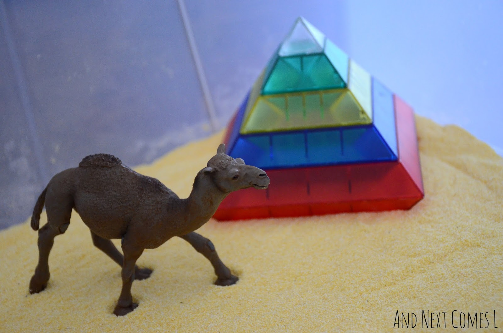 Camel and colorful pyramid in an Egyptian desert sensory bin from And Next Comes L