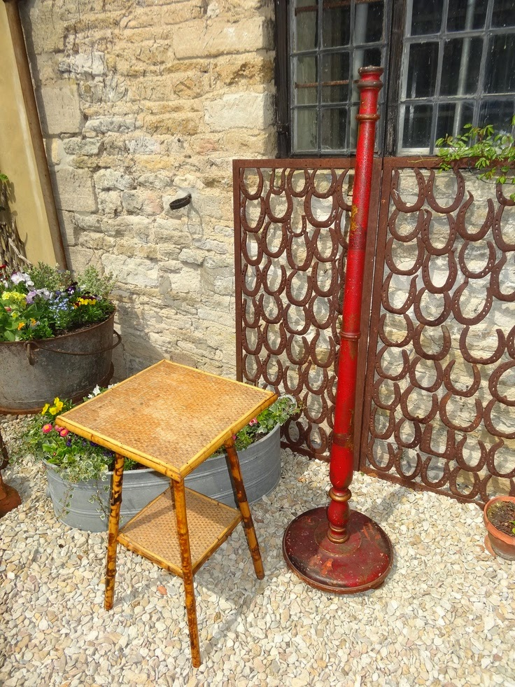 Antique Victorian Bamboo Side Table, Antique Chinoiserie Floor Lamp