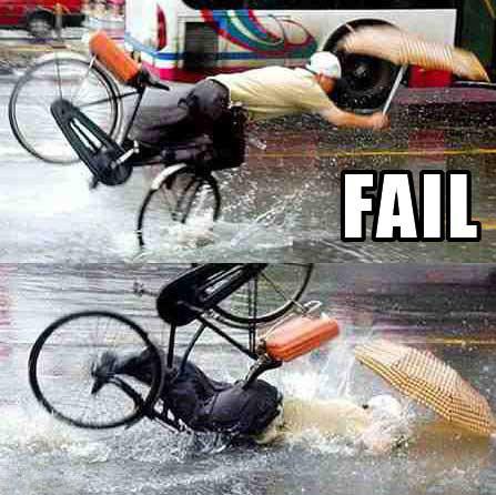 Fail de bicicleta na chuva