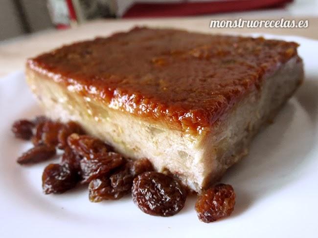 Pudin de pan con pera y caramelo