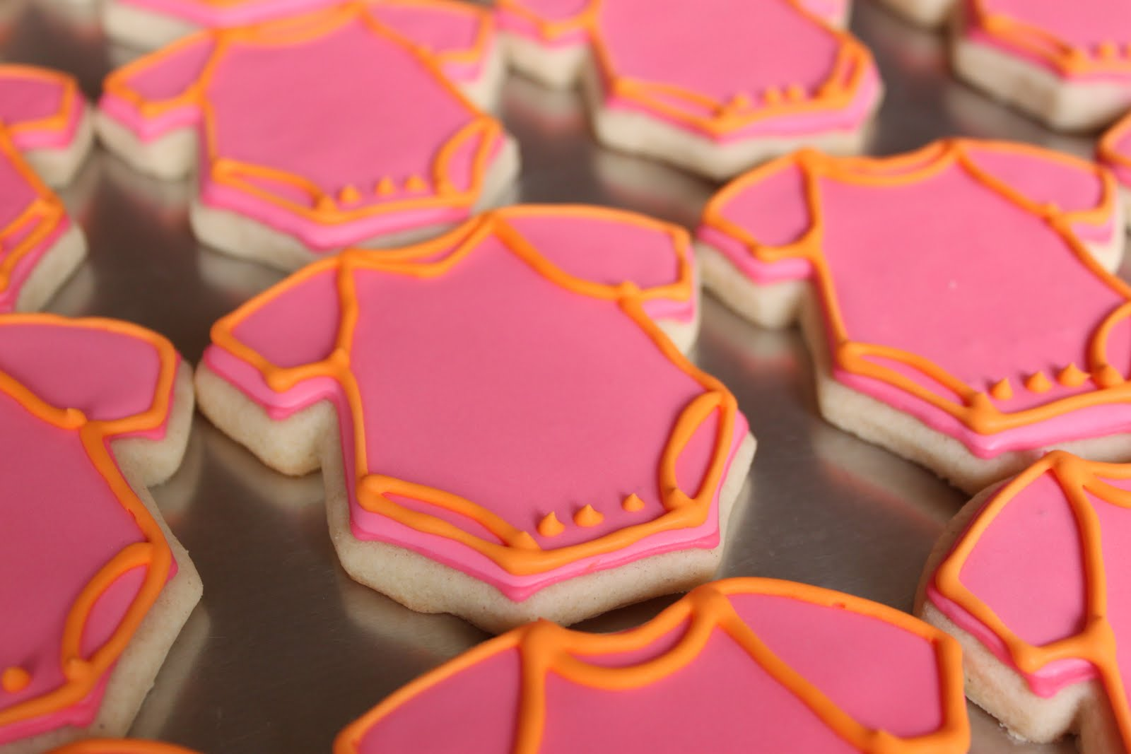 Crave Indulge Satisfy Pink Orange Green Baby Shower Cookies