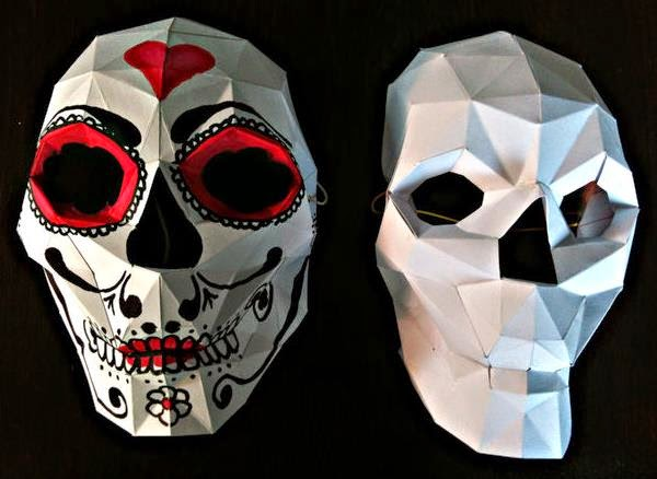 Papermau make your own werable skull mask paper model for Make your own halloween mask online