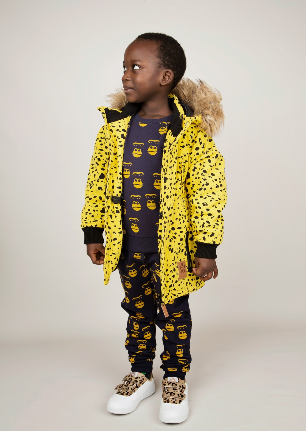 Cool gorilla silhouette print in dark blue and yellow combo - Mini Rodini AW14 collection