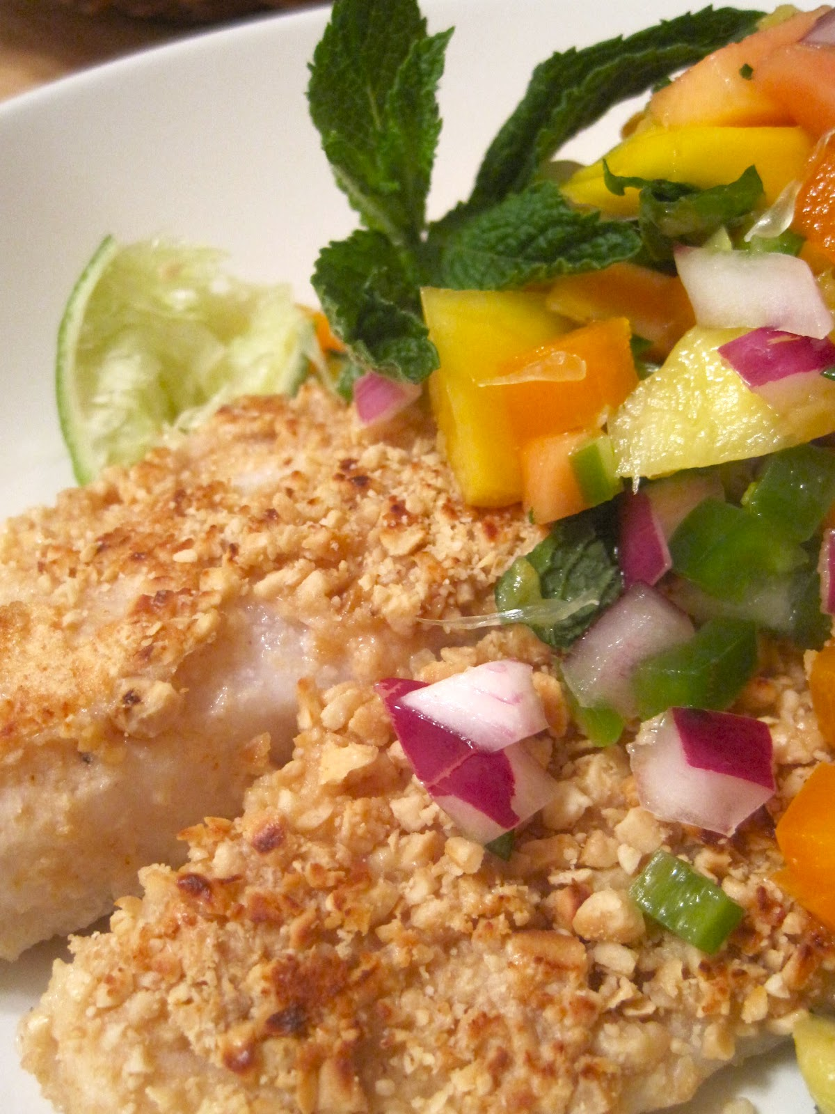Macadamia-Crusted Tilapia with Papaya Salsa (derived from Epicurious )
