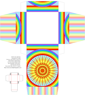 Printable sun and rainbow gift box
