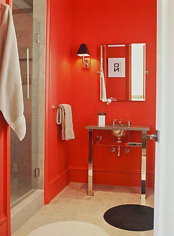 Baño De Color Rojo Intenso Mercadona:Diseños de baños en color rojo – Colores en Casa