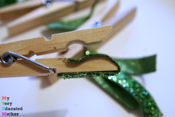 Add ribbon to the clothespin