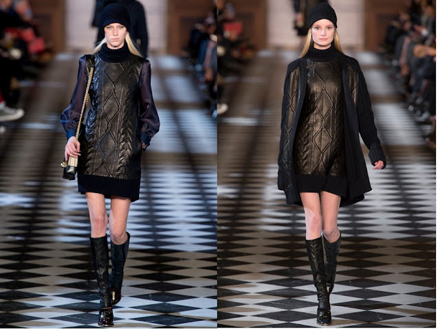 Tommy Hilfiger Fall 2013 - leather, cable knit dresses