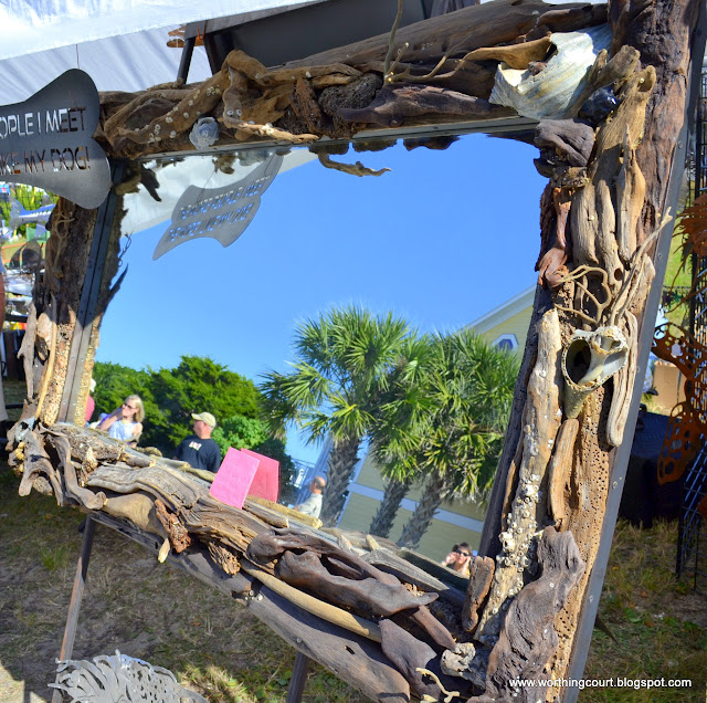 mirror frame embellished with driftwood, conch shells and seaweed - via Worthing Court blog