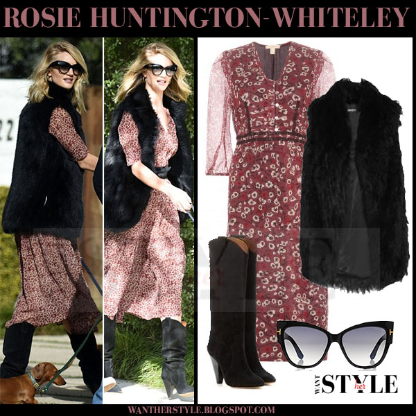 Rosie Huntington-Whiteley in red floral print burberry sebina dress and black fur dkny gilet what she wore model style