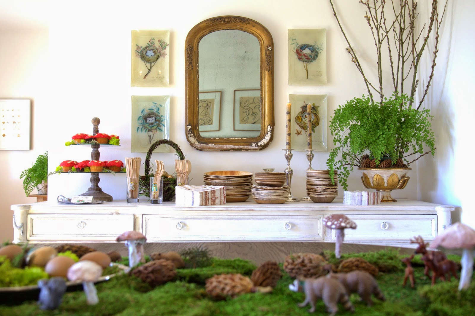 Woodland Party; Dining Room decor and buffet table: Nora's Nest