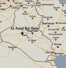 Map of Al Asad Iraq's location in the country.
