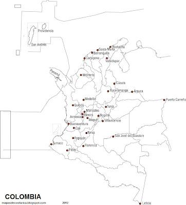 Mapa de las capitales de COLOMBIA