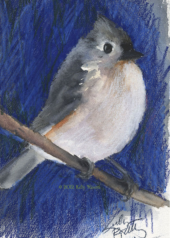 Tufted Titmouse sketch -- watercolor and colored pencil (quick and sloppy art!)