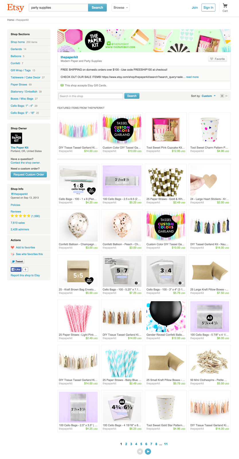 a round up of my favorite online party supply shops