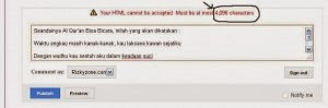 karakter maksimal komentar blogspot
