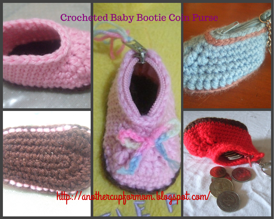 Knot This Time Mom!: Crochet Baby Bootie Coin Purse Pattern