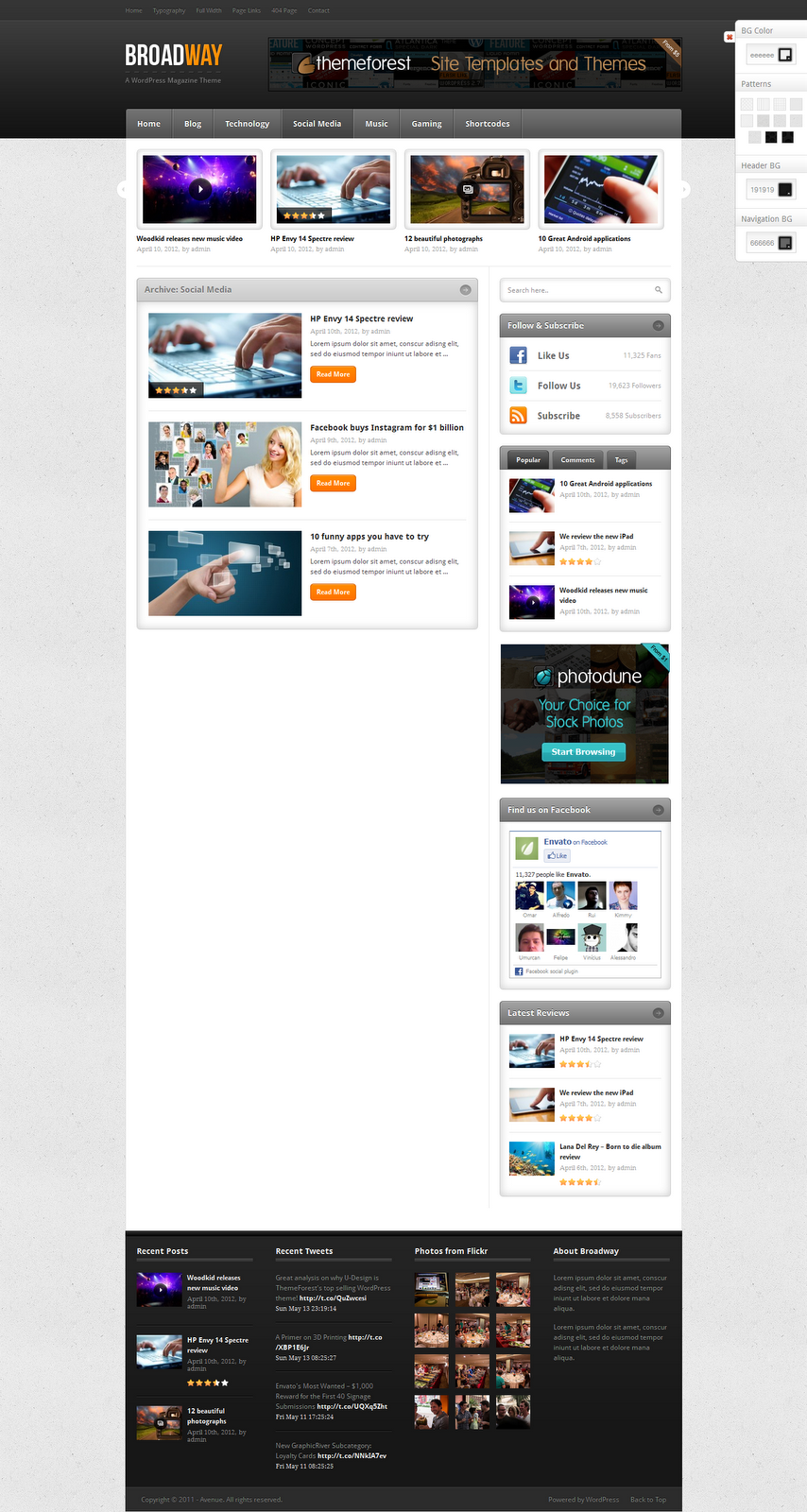 BroadWay-Wordpress-Template-Social-Media-Page