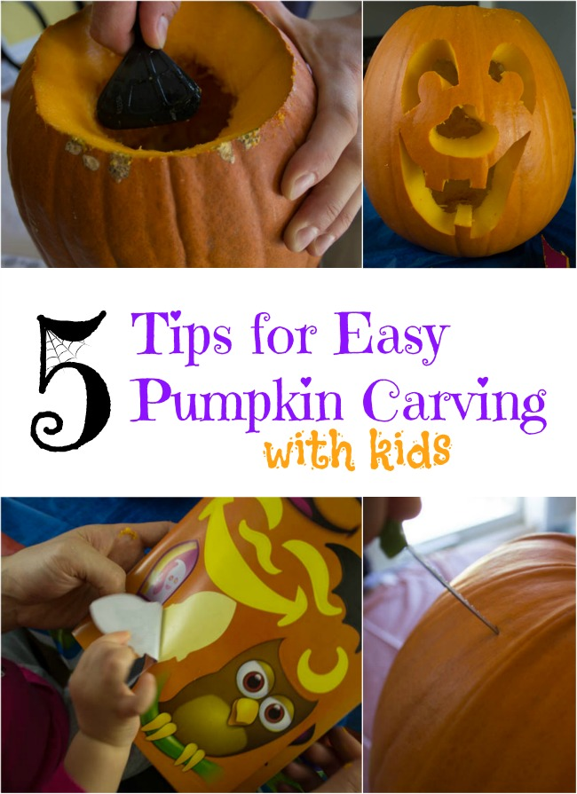 5 Tips to make pumpkin carving fun with kids. I love the one about the tablecloth!