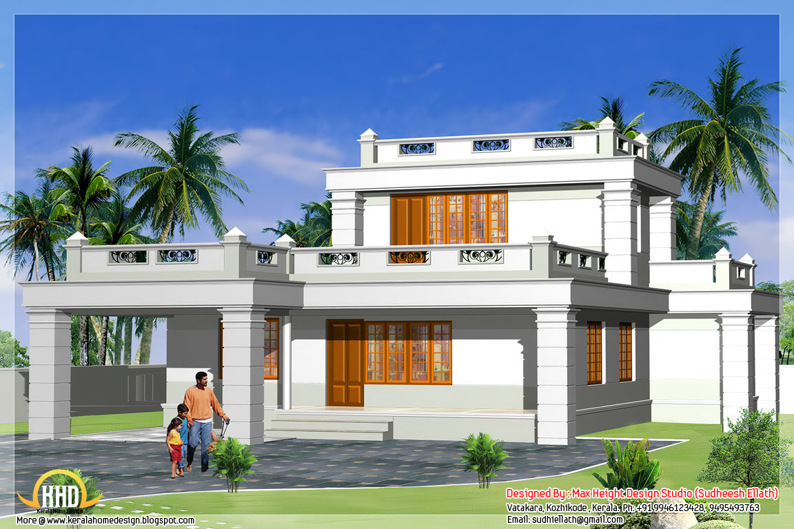 Top Floor Elevation : Beautiful indian house elevations kerala home design
