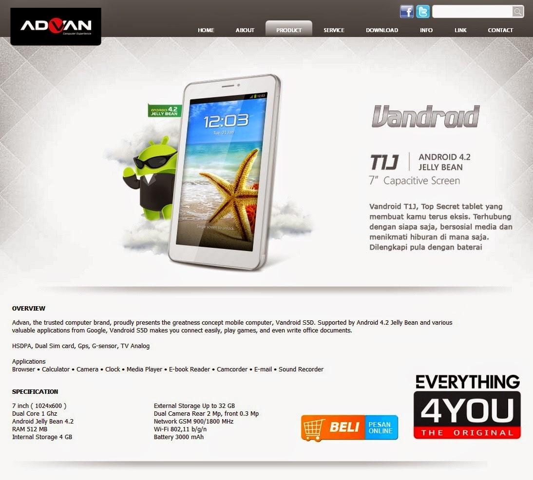 Tablet Advan Vandroid TIJ
