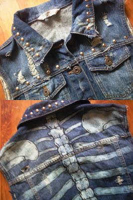 kamizelka diy blogerska diy jeans custom ćwieki kości szkielet 2012