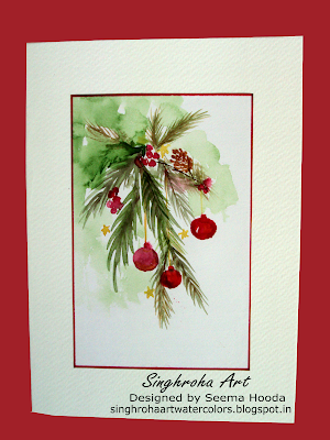 cardmaking, challenge, Christmas, christmasdecorations, christmascards, greetingcards, handmade, singhroha, watercolorcard,pineleaves