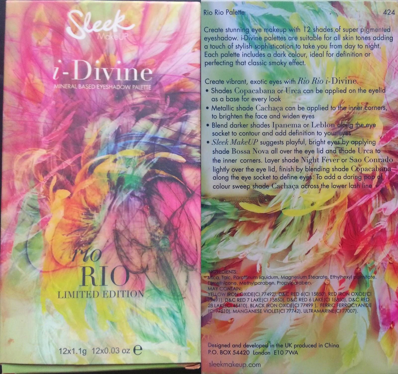 palette Rio Rio Sleek MakeUP, Sleek i-divine palette, rio rio sleek swatches