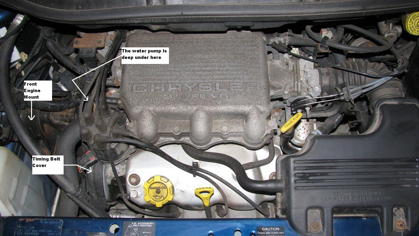 the original mechanic 3 0 l engine (chrysler) replace water pump 99 mustang engine diagram 3 0 liter engine on a 2000 dodge caravan