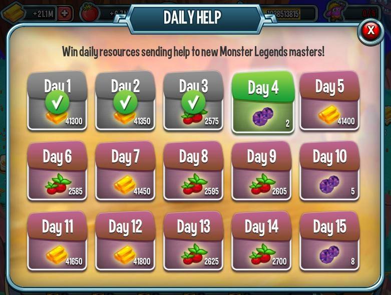imagen de la ayuda diaria de monster legends