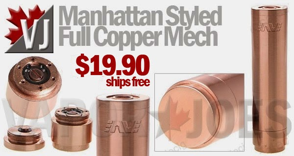 Manhattan Styled 18650 Mechanical Mod in Full Copper