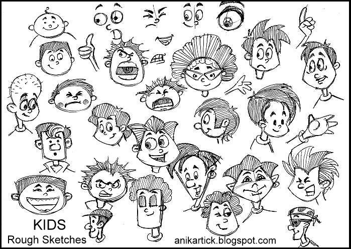 rough kids cute faces and expressions artist anikartickchennaiindia - Painting Sketches For Kids