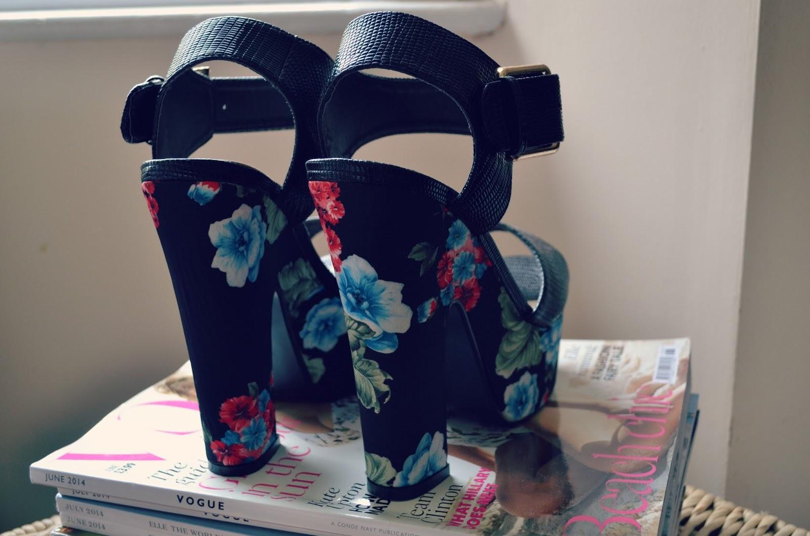 quiz black tropical floral snakeskin heels shoes platforms vogue magazine