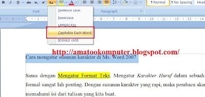 Cara Mengatur Susunan Karakter di Microsoft Word 2007 1