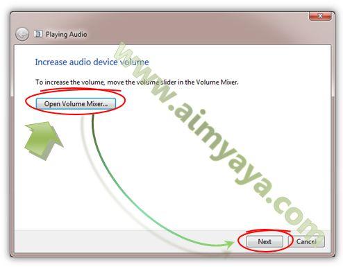 Gambar: Contoh solusi yang ditawarkan untuk mengatasi masalah yang terjadi pada perangkat suara (sound device)