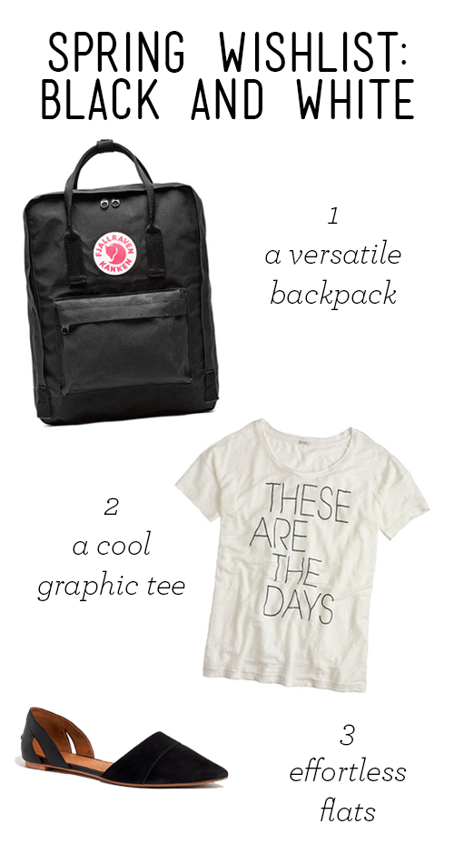 fjallraven kanken backpack, jcrew these are the days tee, madewell d'orsay flat